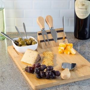 9 Piece Bamboo Cheese Board And Charcuterie Set